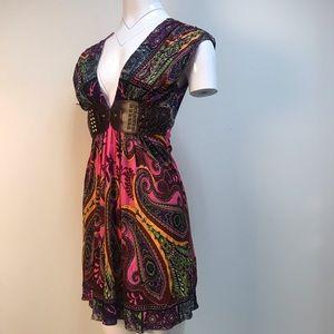 vintage Sky neon tribal print mini belted dress